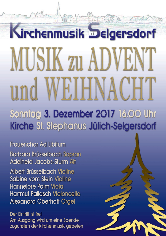 Einladung zum Advents- u. Weihnachtskonzert in St. Stephanus Jülich-Selgersdorf