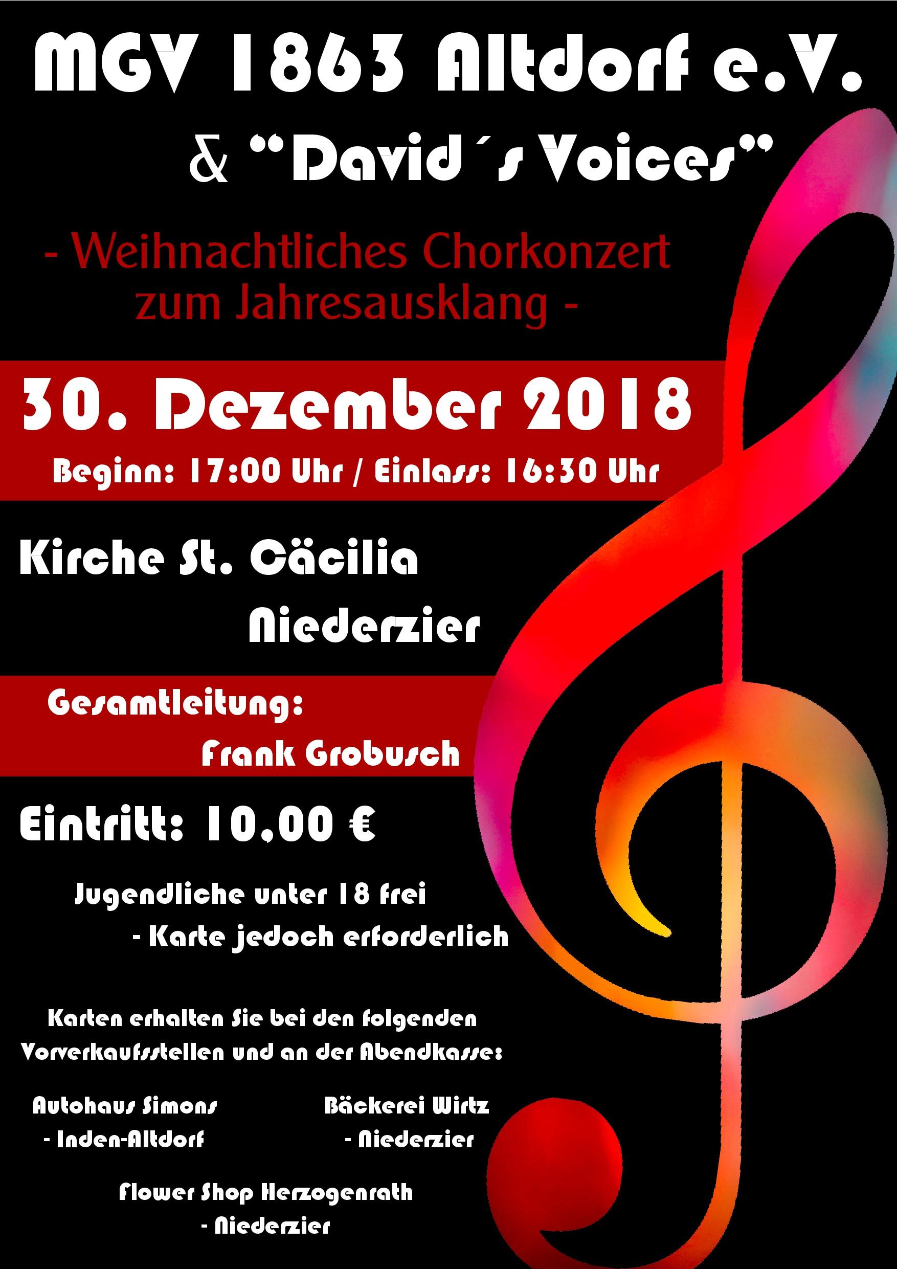 Weihnachtliches Chorkonzert zum Jahresausklang in St. Cäcilia Niederzier